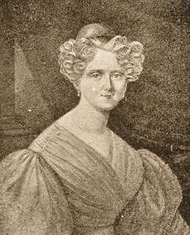 Engraving of Marie Mélanie d'Hervilly Gohier Hahnemann